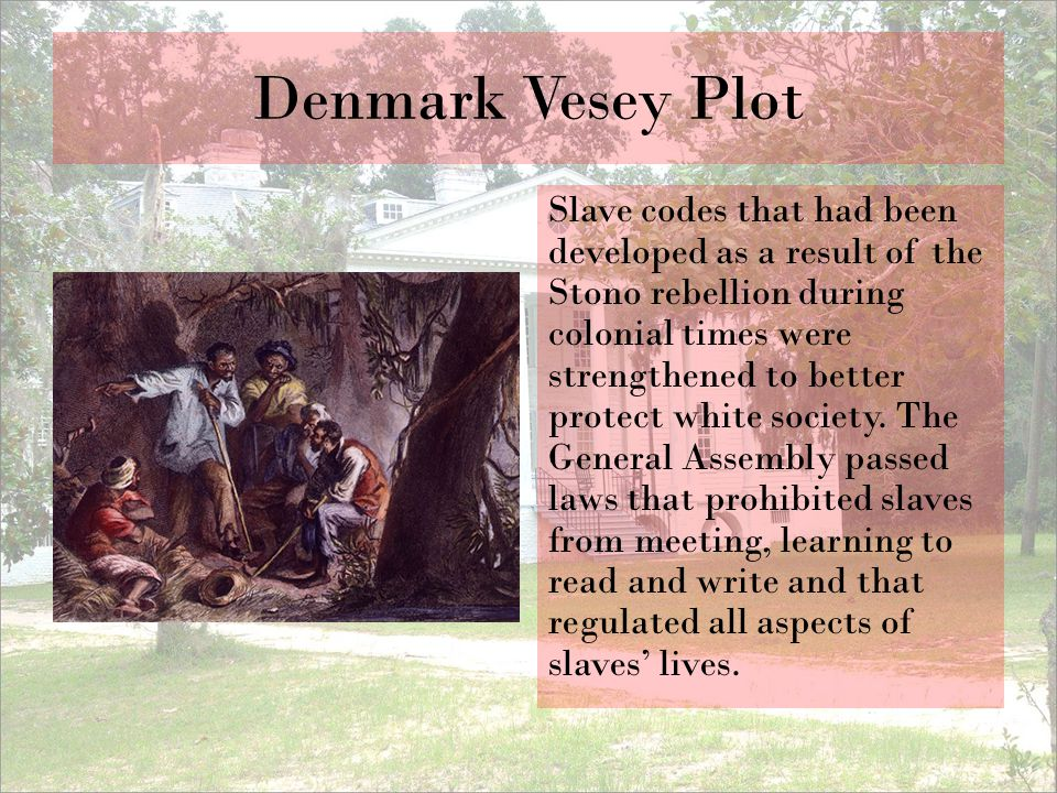 Denmark Vesey Plot Slave codes that had been developed as a result of the Stono rebellion during colonial times were strengthened to better protect wh
