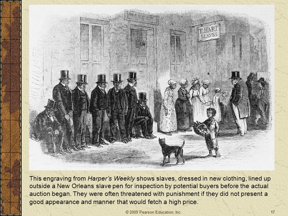This engraving from Harper's Weekly shows slaves, dressed in new clothing, lined up outside a New Orleans slave pen for inspection by potential buyers before the actual auction began.