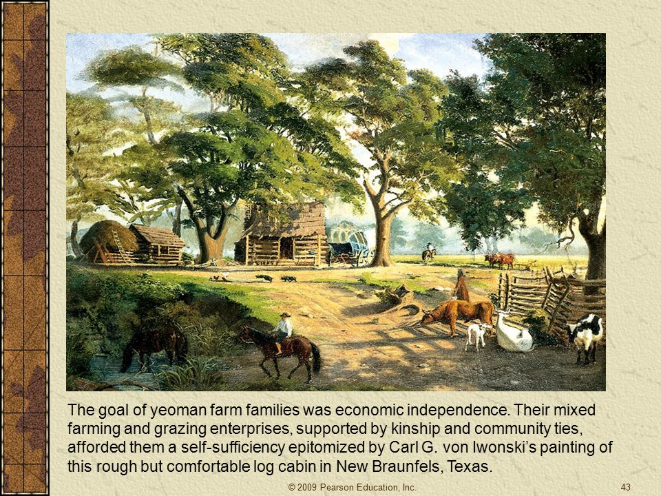 The goal of yeoman farm families was economic independence.