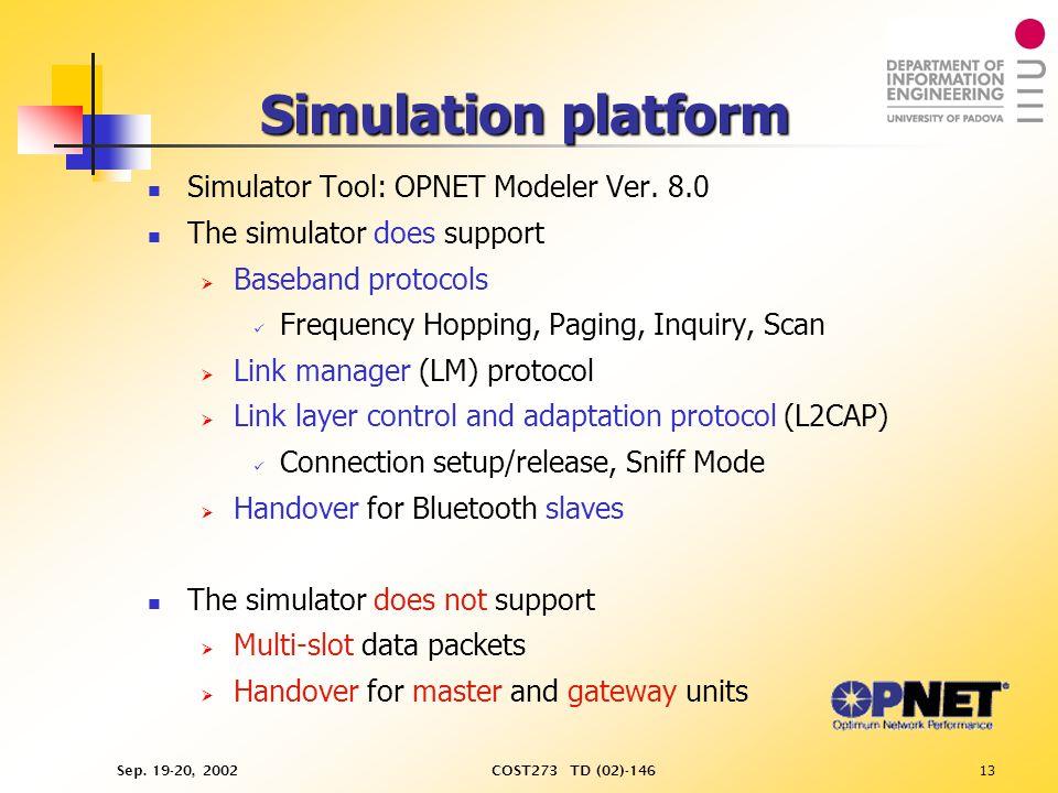 Sep. 19-20, 2002COST273 TD (02)-14613 Simulation platform Simulator Tool: OPNET Modeler Ver.