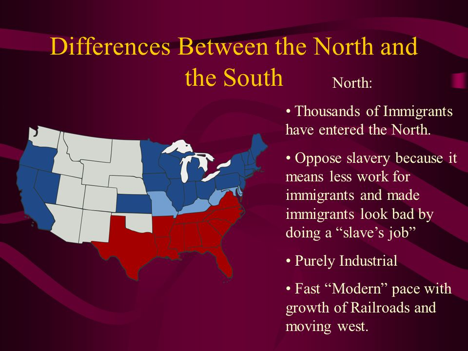 Differences Cont.South: Hasn't changed since the beginning of America.