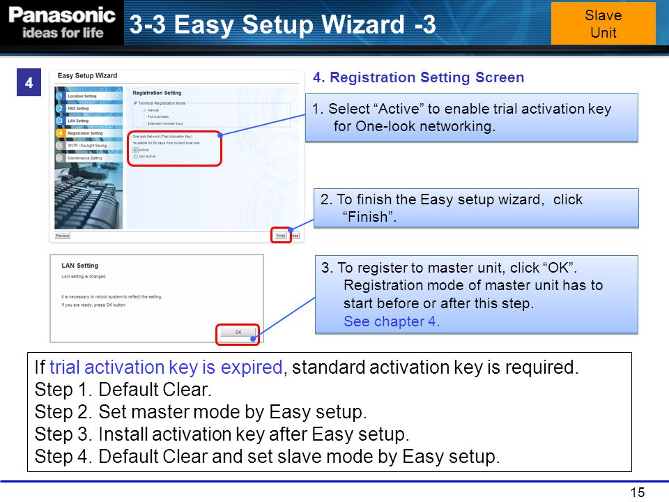"15 2. To finish the Easy setup wizard, click ""Finish"". 4. Registration Setting Screen 3. To register to master unit, click ""OK"". Registration mode of"