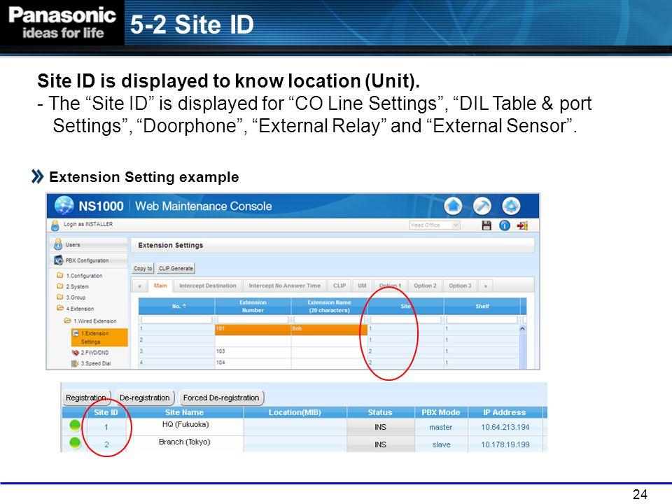 "24 5-2 Site ID Extension Setting example Site ID is displayed to know location (Unit). - The ""Site ID"" is displayed for ""CO Line Settings"", ""DIL Table"