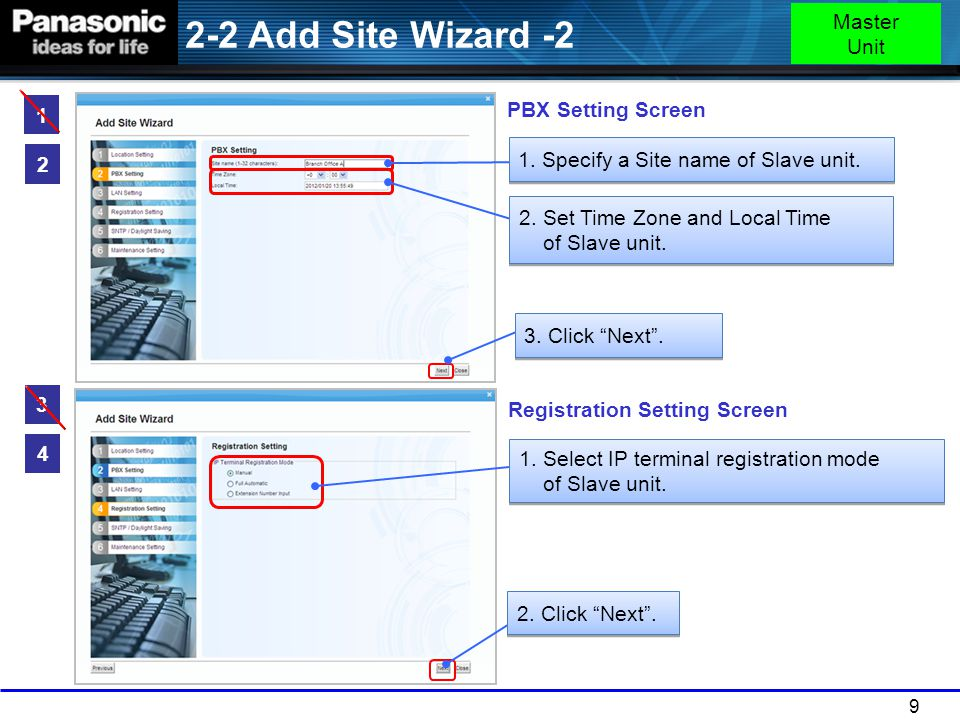 9 2 1. Specify a Site name of Slave unit. 2. Set Time Zone and Local Time of Slave unit. 4 PBX Setting Screen Registration Setting Screen 1. Select IP