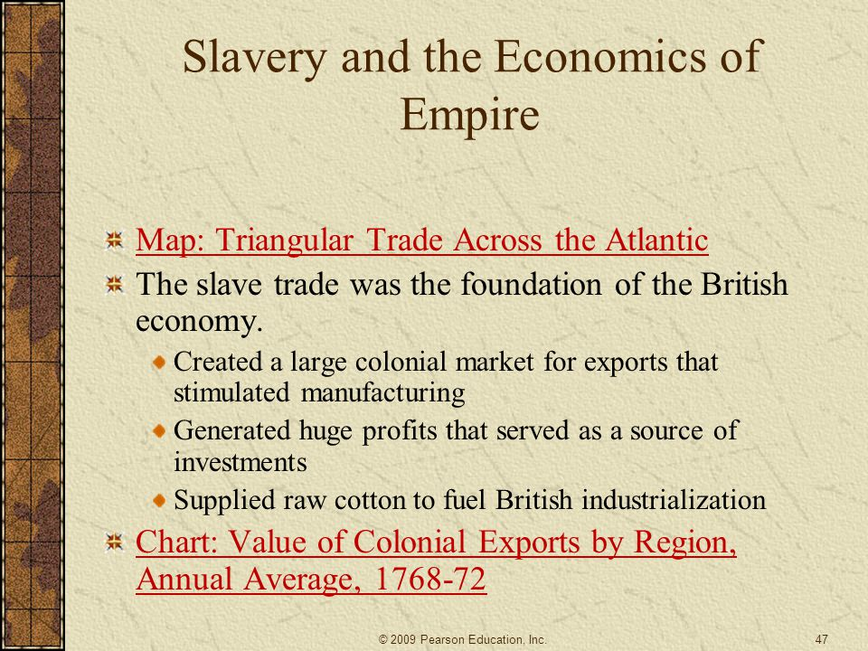 Slavery and the Economics of Empire Map: Triangular Trade Across the Atlantic The slave trade was the foundation of the British economy. Created a lar