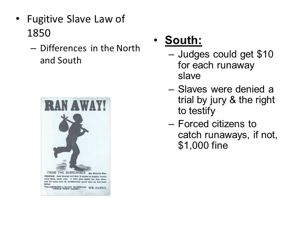 Fugitive Slave Law of 1850 Required all citizens to help catch runaway slaves.