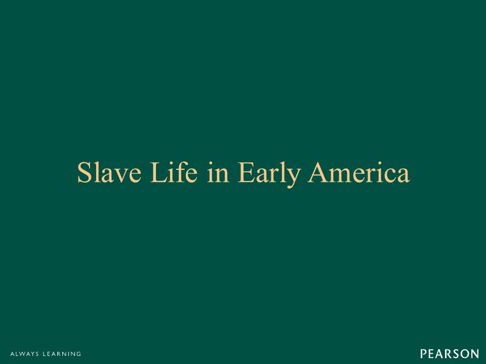 Slave Life in Early America