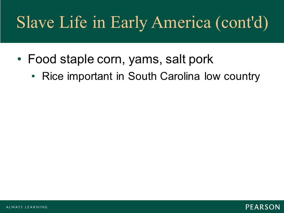 Slave Life in Early America (cont d) Food staple corn, yams, salt pork Rice important in South Carolina low country