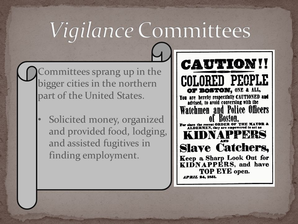 Committees sprang up in the bigger cities in the northern part of the United States. Solicited money, organized and provided food, lodging, and assist