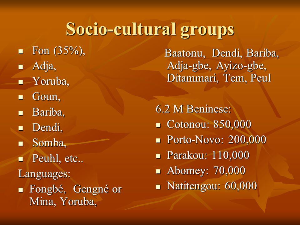 Socio-cultural groups Fon (35%), Fon (35%), Adja, Adja, Yoruba, Yoruba, Goun, Goun, Bariba, Bariba, Dendi, Dendi, Somba, Somba, Peuhl, etc..