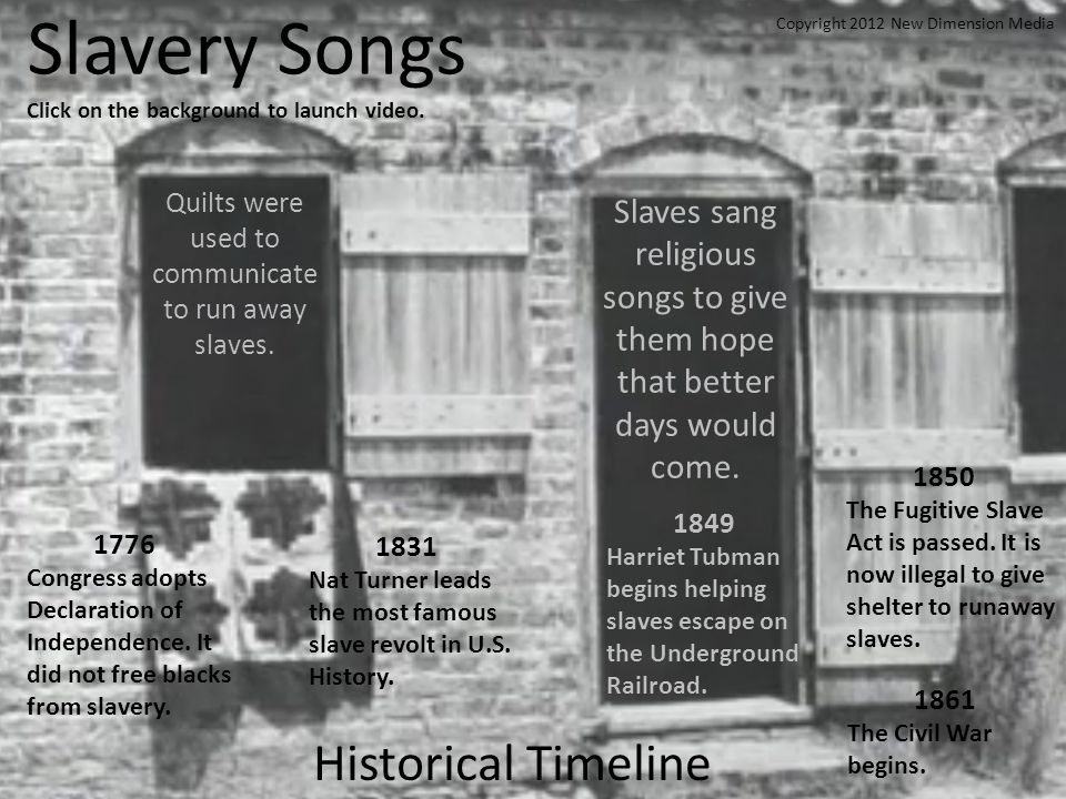 Slavery Songs Click on the background to launch video.