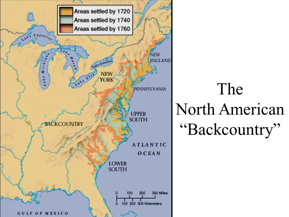"European African Immigrants Distribution of European & African Immigrants in British North America by 1770 The North American ""Backcountry"""