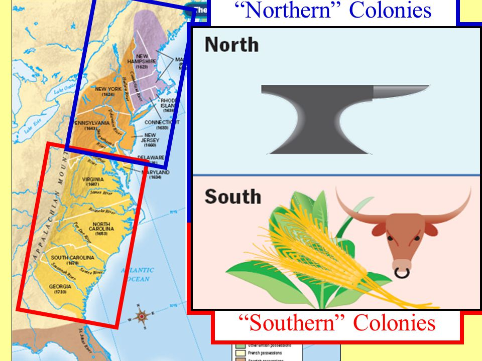 """Southern"" Colonies ""Northern"" Colonies"