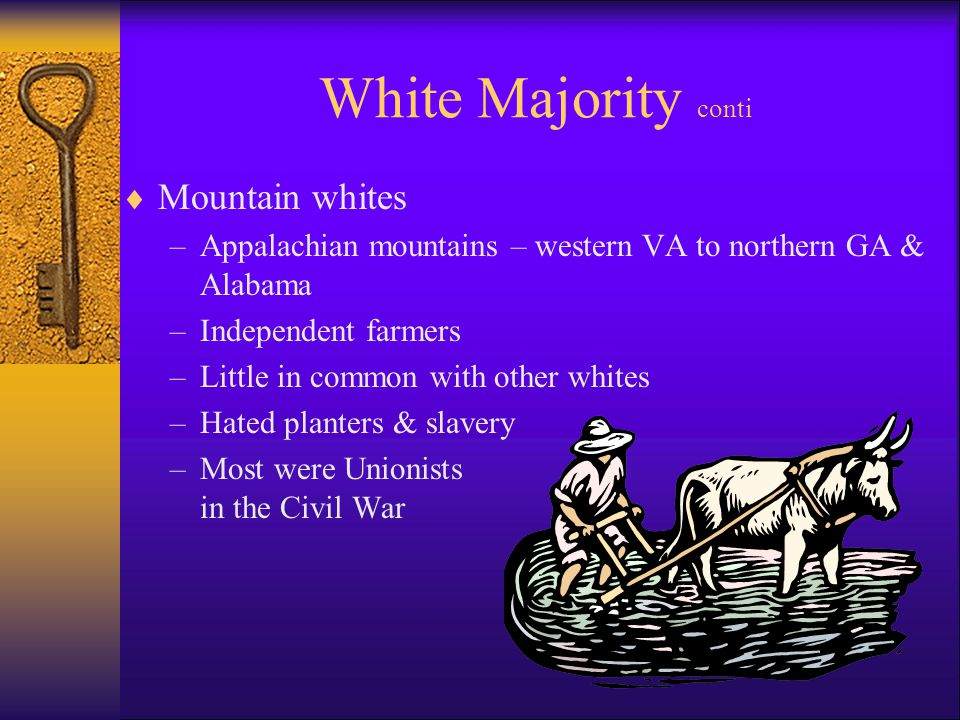 White Majority conti  Mountain whites –Appalachian mountains – western VA to northern GA & Alabama –Independent farmers –Little in common with other whites –Hated planters & slavery –Most were Unionists in the Civil War