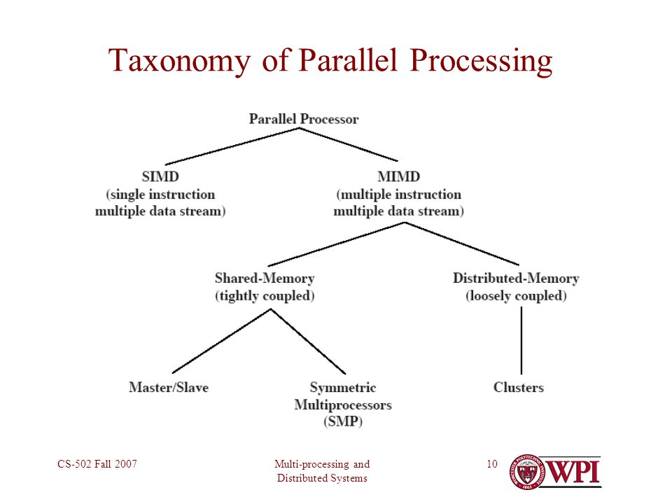 Multi-processing and Distributed Systems CS-502 Fall 200710 Taxonomy of Parallel Processing