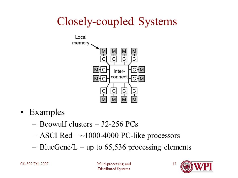 Multi-processing and Distributed Systems CS-502 Fall 200713 Closely-coupled Systems Examples –Beowulf clusters – 32-256 PCs –ASCI Red – ~1000-4000 PC-like processors –BlueGene/L – up to 65,536 processing elements