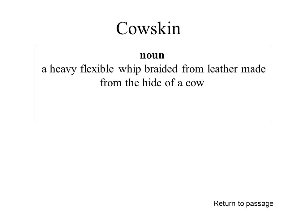 Cowskin Return to passage noun a heavy flexible whip braided from leather made from the hide of a cow