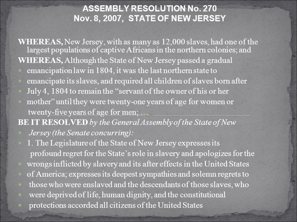 ASSEMBLY RESOLUTION No. 270 Nov.