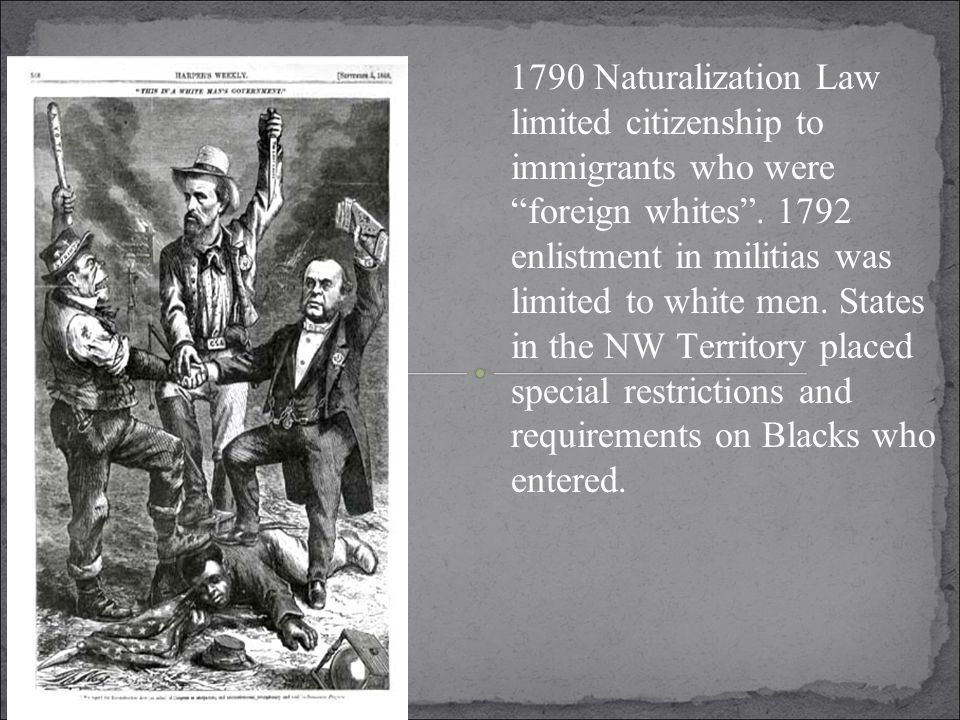 1790 Naturalization Law limited citizenship to immigrants who were foreign whites .