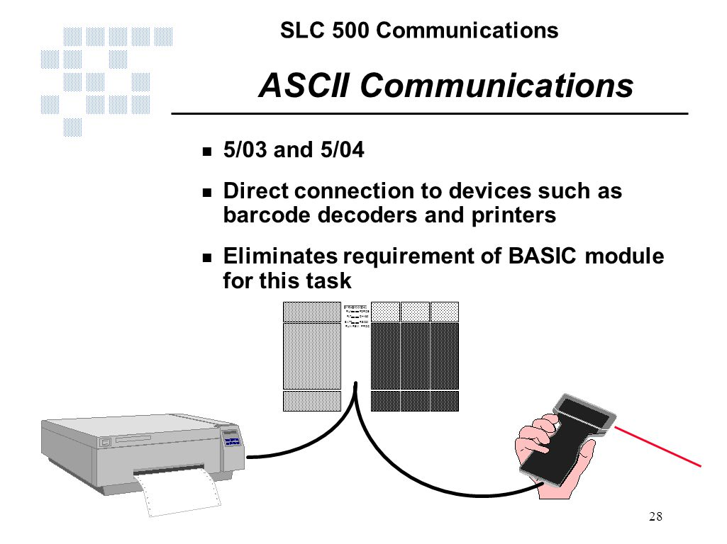 SLC 500 Communications 28 ASCII Communications n 5/03 and 5/04 n Direct connection to devices such as barcode decoders and printers n Eliminates requi
