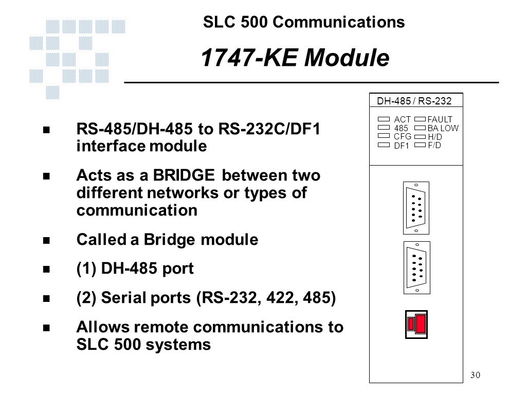 SLC 500 Communications 30 1747-KE Module n RS-485/DH-485 to RS-232C/DF1 interface module n Acts as a BRIDGE between two different networks or types of