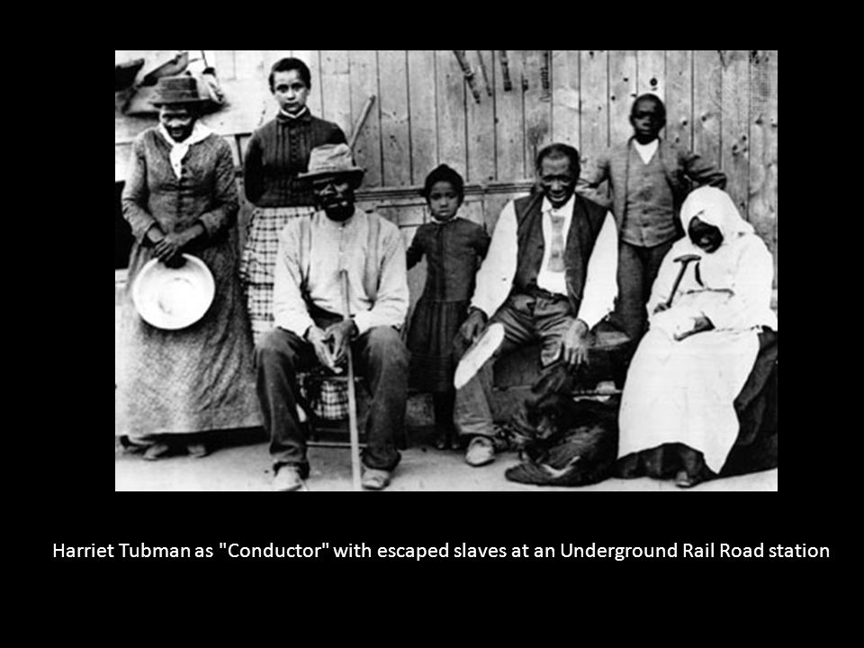 Harriet Tubman as Conductor with escaped slaves at an Underground Rail Road station