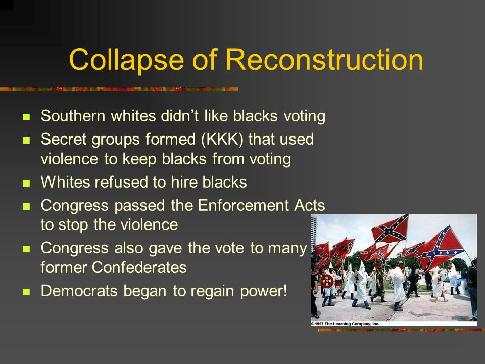 Southern Planters Southern elite wanted to return to the plantation system Tried to make sure former slaves couldn't own land Many slaves turned to sh