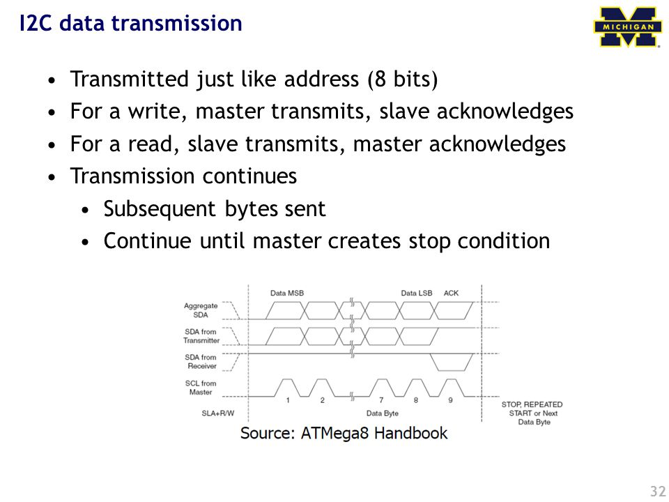 32 I2C data transmission Transmitted just like address (8 bits) For a write, master transmits, slave acknowledges For a read, slave transmits, master acknowledges Transmission continues Subsequent bytes sent Continue until master creates stop condition