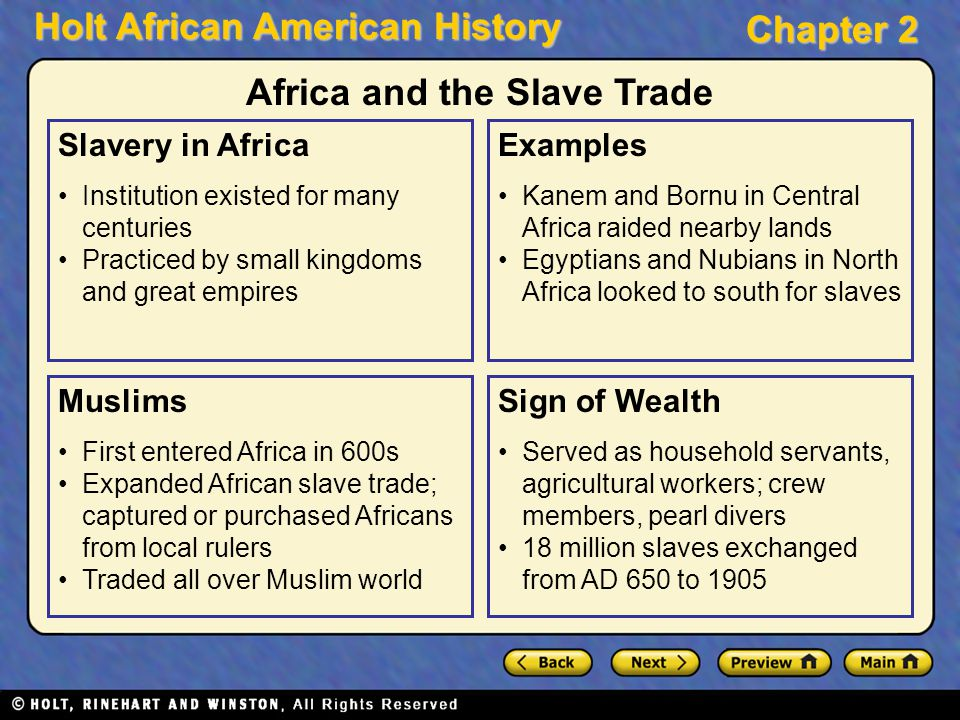 Holt African American History Chapter 2 Slavery in Africa Institution existed for many centuries Practiced by small kingdoms and great empires Muslims