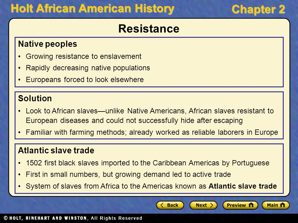 Holt African American History Chapter 2 Native peoples Growing resistance to enslavement Rapidly decreasing native populations Europeans forced to loo