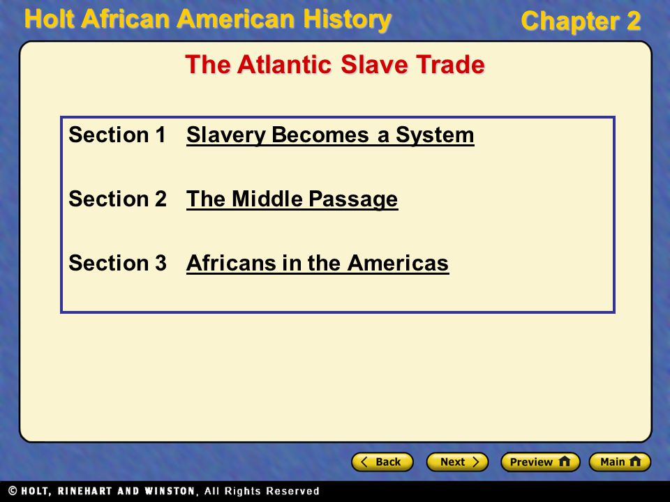 Holt African American History Chapter 2 Section 1 Slavery Becomes a SystemSlavery Becomes a System Section 2 The Middle PassageThe Middle Passage Sect