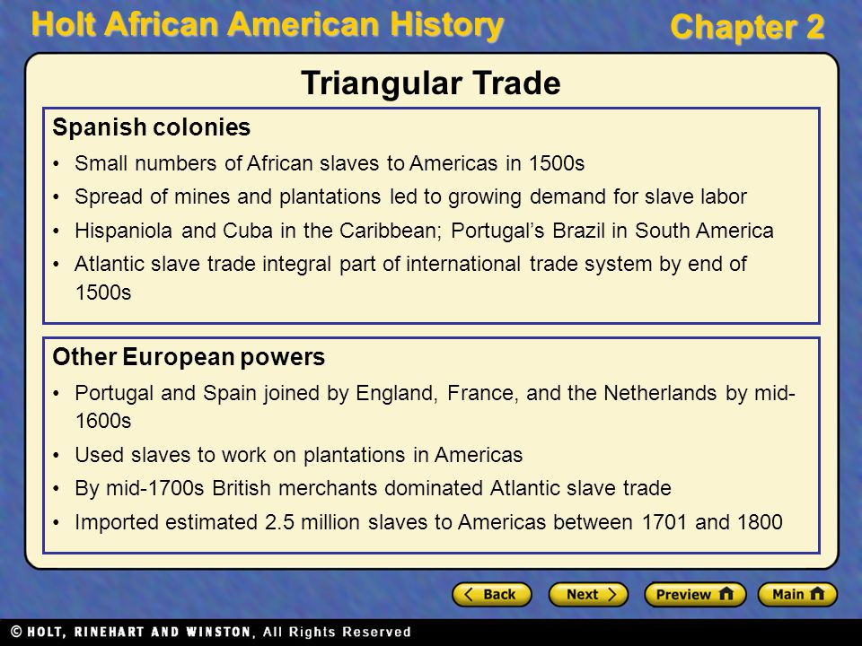 Holt African American History Chapter 2 Spanish colonies Small numbers of African slaves to Americas in 1500s Spread of mines and plantations led to g