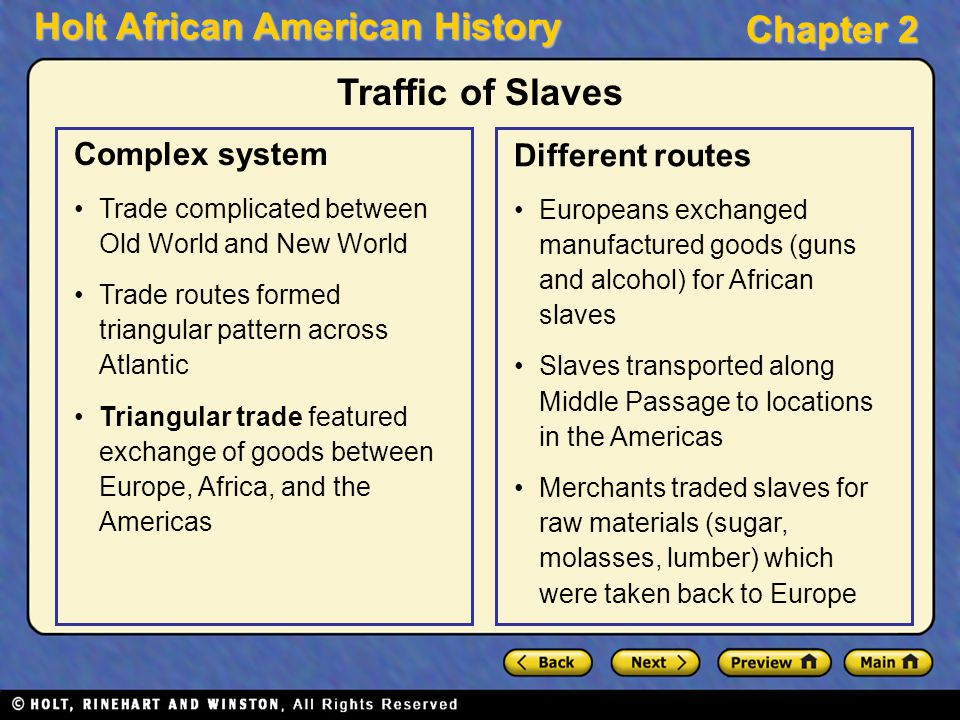 Holt African American History Chapter 2 Traffic of Slaves Complex system Trade complicated between Old World and New World Trade routes formed triangu