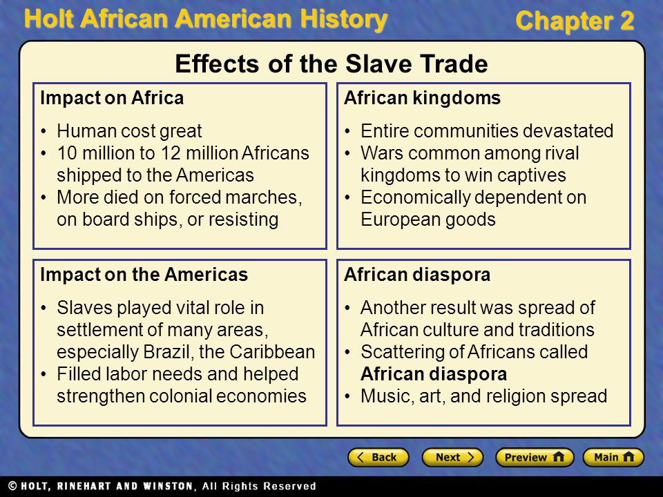Holt African American History Chapter 2 Impact on Africa Human cost great 10 million to 12 million Africans shipped to the Americas More died on force