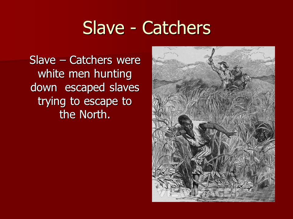 Slave - Catchers Slave – Catchers were white men hunting down escaped slaves trying to escape to the North.