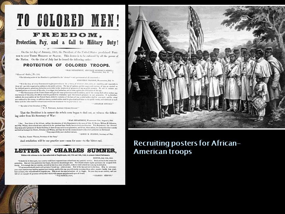 Recruiting posters for African- American troops