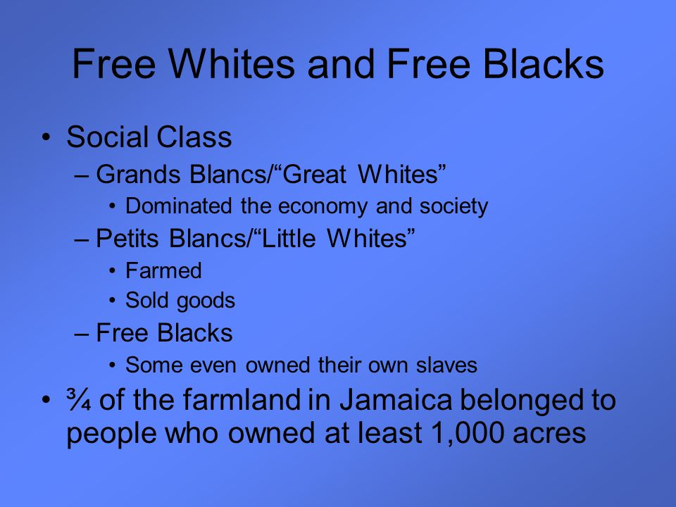 "Free Whites and Free Blacks Social Class –Grands Blancs/""Great Whites"" Dominated the economy and society –Petits Blancs/""Little Whites"" Farmed Sold go"