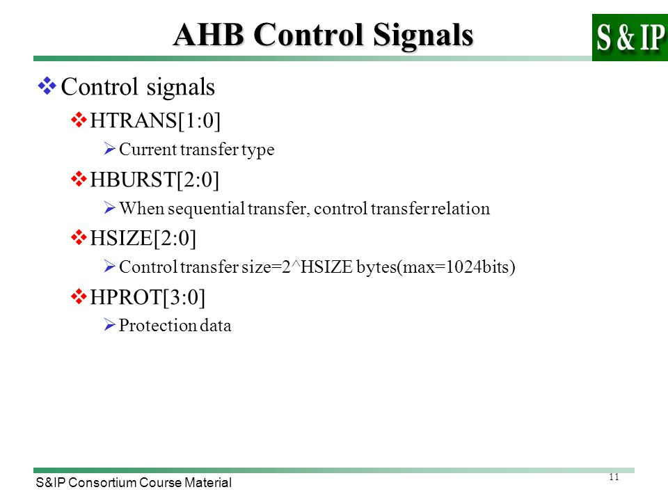 11 S&IP Consortium Course Material AHB Control Signals  Control signals  HTRANS[1:0]  Current transfer type  HBURST[2:0]  When sequential transfer, control transfer relation  HSIZE[2:0]  Control transfer size=2^HSIZE bytes(max=1024bits)  HPROT[3:0]  Protection data