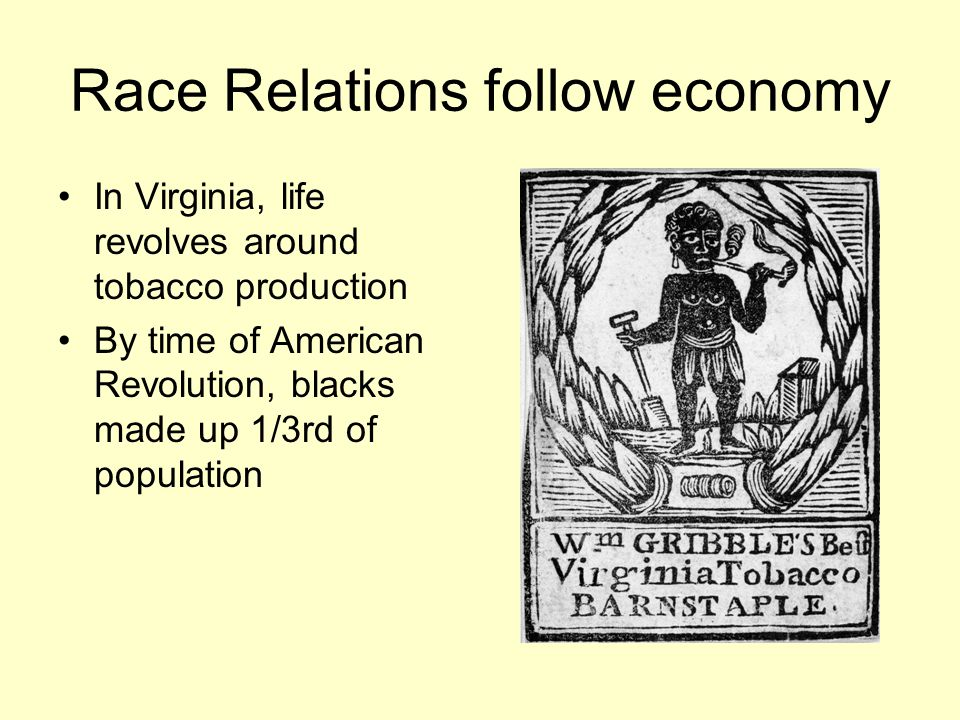Race Relations follow economy In Virginia, life revolves around tobacco production By time of American Revolution, blacks made up 1/3rd of population