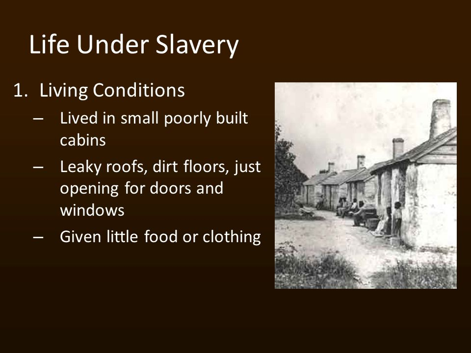 Life Under Slavery 1.Living Conditions – Lived in small poorly built cabins – Leaky roofs, dirt floors, just opening for doors and windows – Given little food or clothing