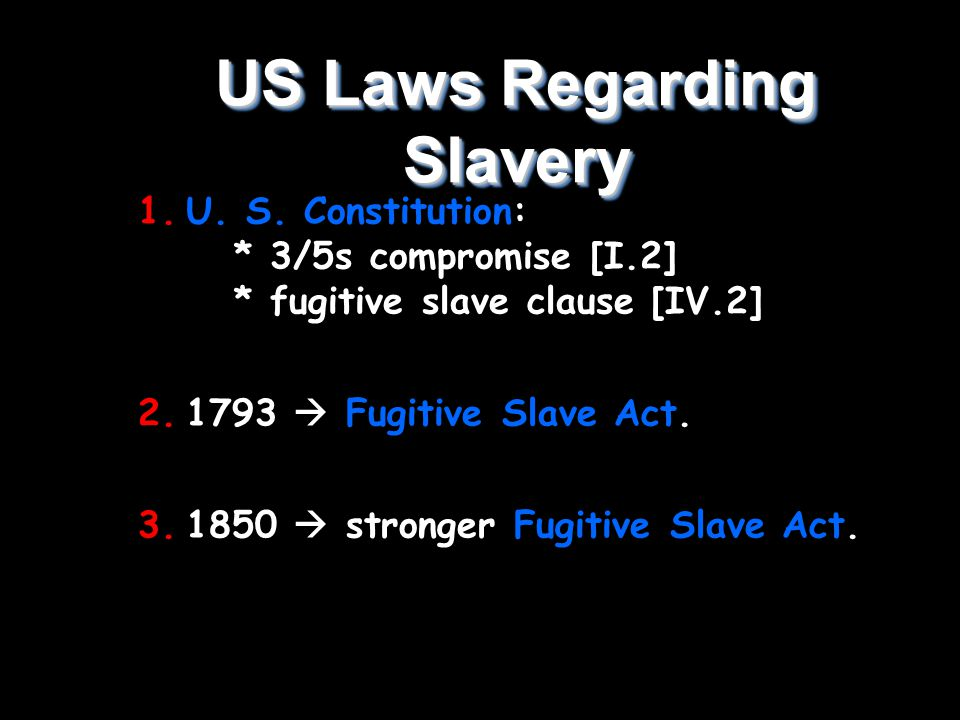 US Laws Regarding Slavery 1.U. S.