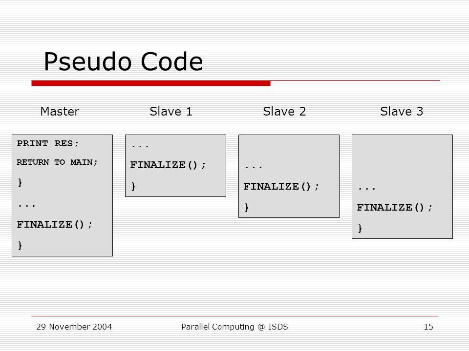 29 November 2004Parallel Computing @ ISDS15 PRINT RES; RETURN TO MAIN ; }...
