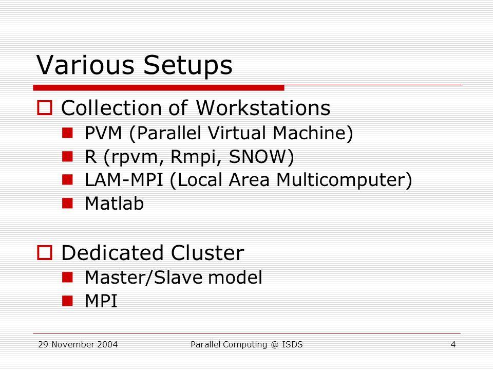 29 November 2004Parallel Computing @ ISDS5 Network Layout  Basic layout: Each node has: CPU(s), memory