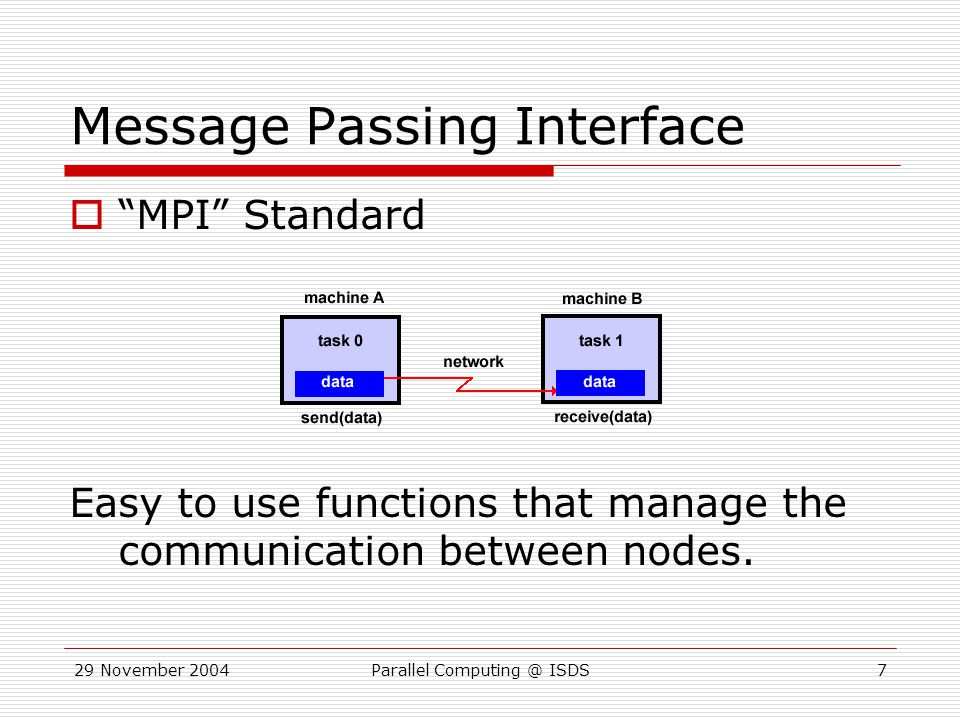 29 November 2004Parallel Computing @ ISDS18 CSEM Cluster Details  4 Dual processing head nodes  64 Dual processing shared nodes Intel Xeon 2.8 GHz  40 Dual processing stat nodes Intel Xeon 3.1 GHz  161 Dual processing other nodes Owners get priority