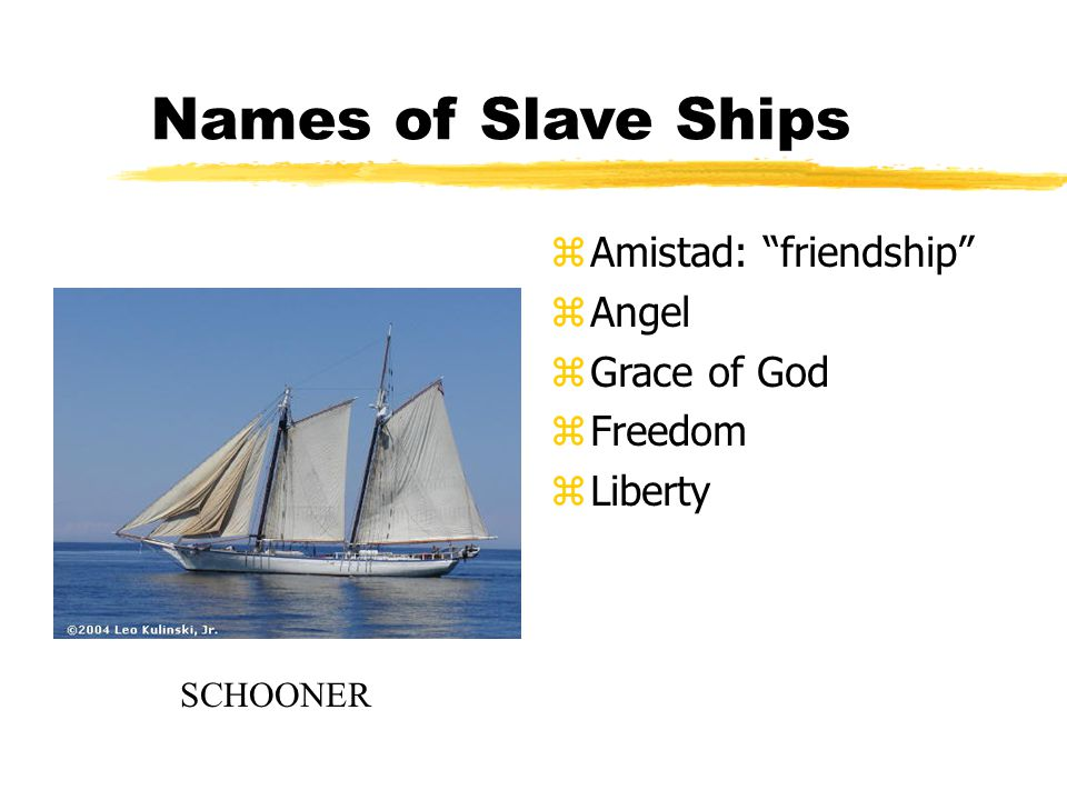 Names of Slave Ships z Amistad: friendship z Angel z Grace of God z Freedom z Liberty SCHOONER