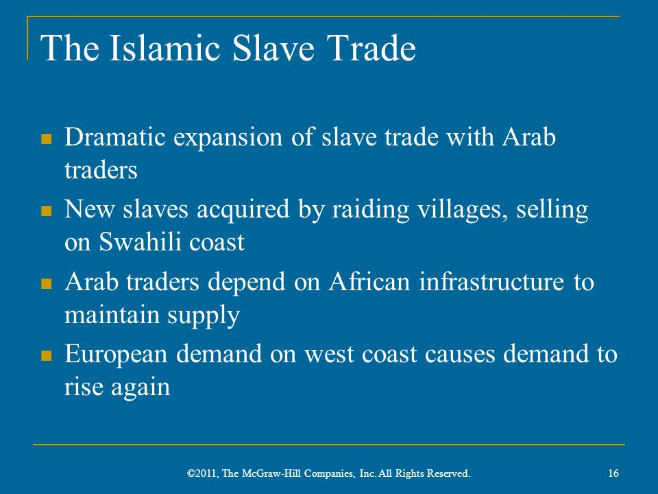 The Islamic Slave Trade Dramatic expansion of slave trade with Arab traders New slaves acquired by raiding villages, selling on Swahili coast Arab tra