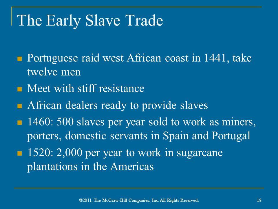 The Early Slave Trade Portuguese raid west African coast in 1441, take twelve men Meet with stiff resistance African dealers ready to provide slaves 1