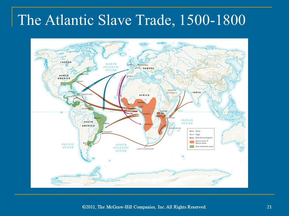 The Atlantic Slave Trade, 1500-1800 ©2011, The McGraw-Hill Companies, Inc. All Rights Reserved. 21