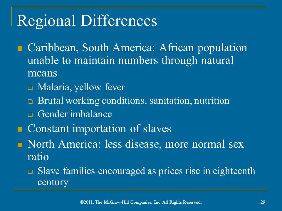 Regional Differences Caribbean, South America: African population unable to maintain numbers through natural means  Malaria, yellow fever  Brutal wo