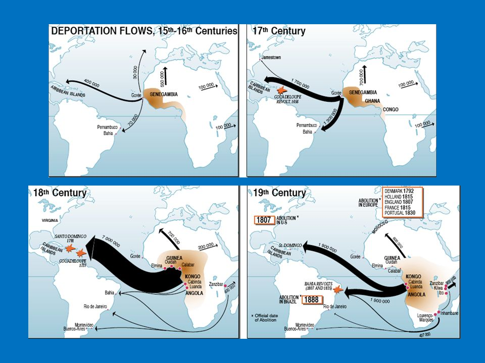 Slavery Develops with Triangular Trade Europeans transported manufactured goods to the west coast of Africa & goods were exchanged for slaves Slaves carried to the West Indies (Americas) Merchants sold the slaves for sugar, tobacco, and other goods and were carried back across the Atlantic to Europe European products (cloth, firearms) sent to coast of Africa for slaves to begin triangle trade again